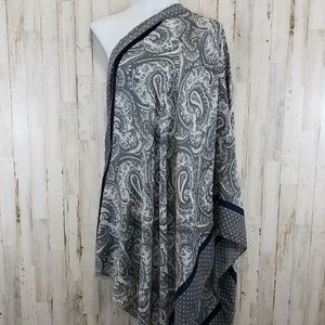Womens Scarf Gray Rectangle Paisley Polka Dot